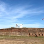 Firing the large cannon at Old Fort Jackson