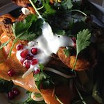 Char grilled Indian chicken with mango salad.