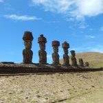 Moai, most with hats