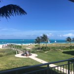 View from balcony towards beach.
