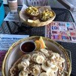 Pancakes with banana and macadamia nuts, Buddha breakfast sandwich