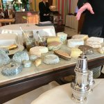 The cheese tray with local cheeses on the right and French cheese from other regions on left.