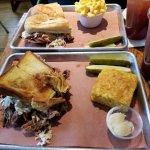 Pork/Brisket Sandwich overflowing the Texas Toast