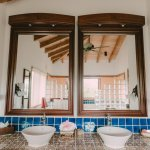 His and hers sinks in deluxe treehouse bathroom