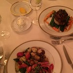 Seafood dish and filet mignon