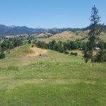 The view from the tee box on the 7th hole. It's long way down!