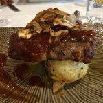 Dinner 😋 Messe plate for 2, steak special & pork rib eye.
