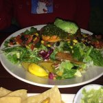 Salmon Tostada with Mixed Greens and Black Bean/Corn Salsa - Outstanding