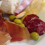 Hams, cheese and juicy olives