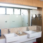 Bathroom/shower in one of the newer built rooms