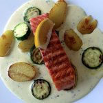 Grilled salmon with rosemary sauce! Best Lunch ever!