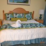 Master bedroom with towel swan.