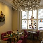 The beautiful dining room (I have serious chandelier envy)