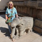 With carved elephant