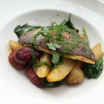 Pan seared Seabream Chorizo – sauté potatoes – wilted spinach