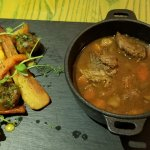 Curried chicken sandwich. Beef stew with root veg.