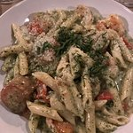 Pesto pasta with scallop and shrimp