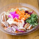 Falafel Bowl at its best - served with warm pita bread on the side