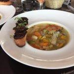 Vegetable soup with mushroom toast