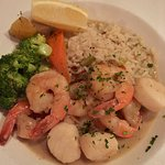 Scallops & Prawns with rice and fresh vegetables