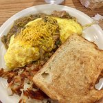 Chile Verde Omelette, Hash browns and sourdough toast