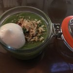 Asparagus Soup with blue crap and apple whip, bacon