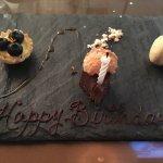 Blueberry tart, fudge, macaroon