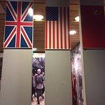 British, US and Soviet flags
