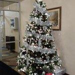 Holiday decorations near new temporary lobby