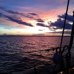 Sunset on the Chesapeake Bay, while under full sail.