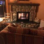 Cozy stone gas fireplace