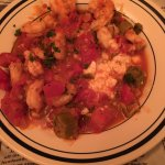 Shrimp & Grits- Lots of shrimp & okra. Too many tomatoes. Grits were delicious but not enough gr
