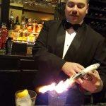 Charles Making Smoked Whiskey Drinks