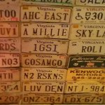 The ceiling with license plates