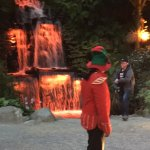 Elf welcoming the visitors in front of the waterfall