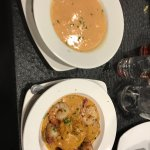 Seafood bisque and their shrimp and grits