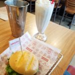 Buffalo Turkey Burger and Peanut Butter Shake