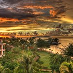 Shangri-La Tangun Aru - grounds and sunset view from room
