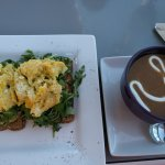 Avocado toast with scrambled eggs; butternut squash soup