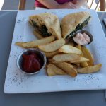 Grilled Gruyere cheese sandwich with truffle fries