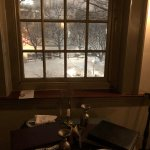 "The view from our table. The winter scenery added a nice touch to the ""tavern"" feel and atmosphe"