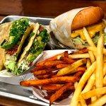 Gott's Tuna Tacos, Burger, Sweet Potato Fries, Fries