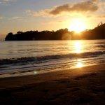Sunrise on the beach across the road
