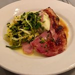 Gammon with cabbage and mash.