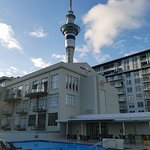 Roof top pool with view of the Skytower.