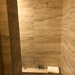 Walk in shower in Oceanfront Bungalow room #211