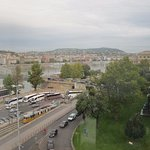 View of the Danube corso, the River, the bridge and a part of Szechenyi Istvan square