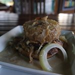 The best dish, rou rou - Spinach patty, with cassava, in coconut milk