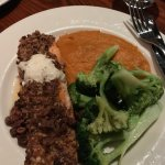 Pecan crusted salmon with whipped sweet potatoes