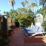 Walkway to pool and lounge chairs